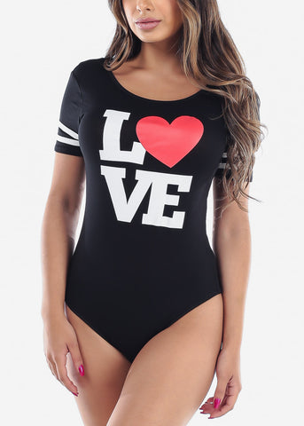 Image of Love Heart Cute Trendy Graphic Print Black Bodysuit On Sale Fashionista 2019 New Moda
