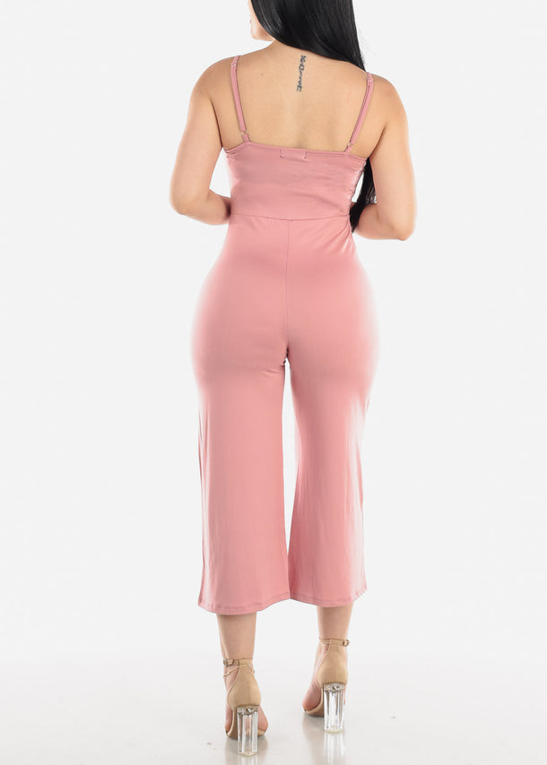 Wide Legged Mauve Cropped Jumpsuit