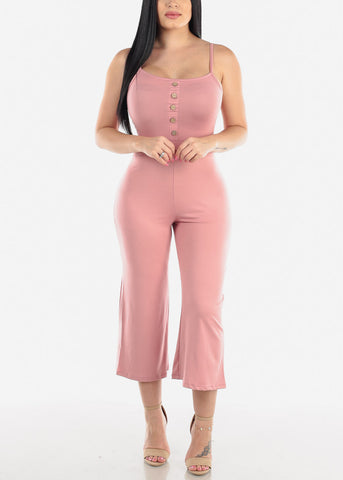 Image of Wide Legged Mauve Cropped Jumpsuit