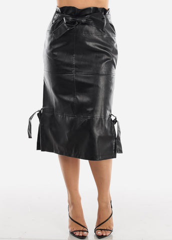 Image of Belted Black Faux Leather Skirt