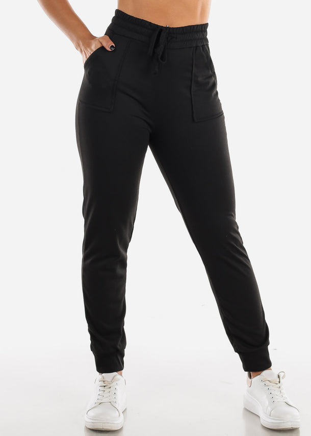Drawstring Waist Black Jogger Pants