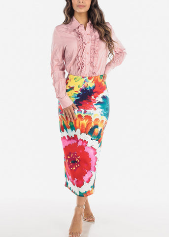 Multicolor Floral Print High Waist Pencil Skirt