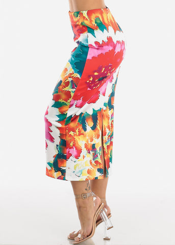 Image of Multicolor Floral Print High Waist Pencil Skirt
