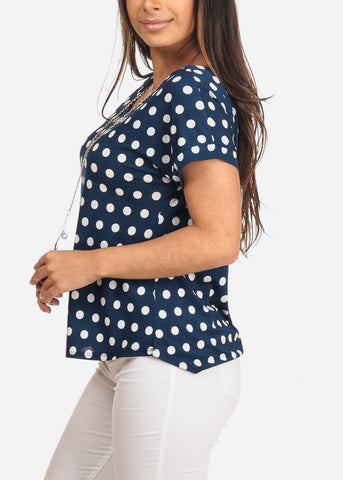 Women's Junior Ladies Casual Dressy Short Sleeve Polka Dot Print Blue Blouse Top