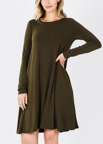 Olive Long Sleeve Flare Dress