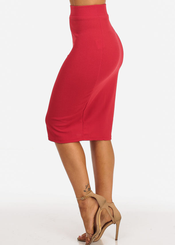 High Rise Red Midi Skirt