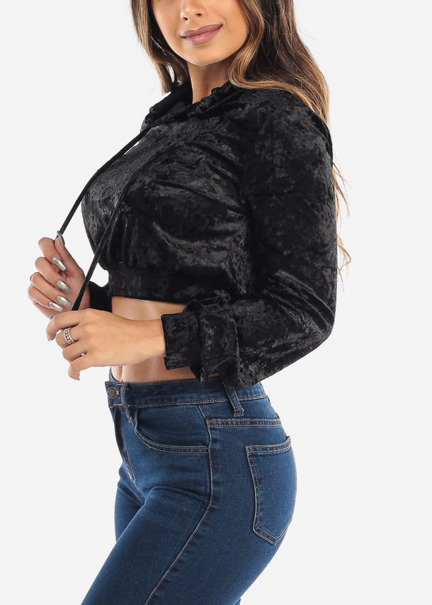 Black Velvet Cropped Long Sleeve Top