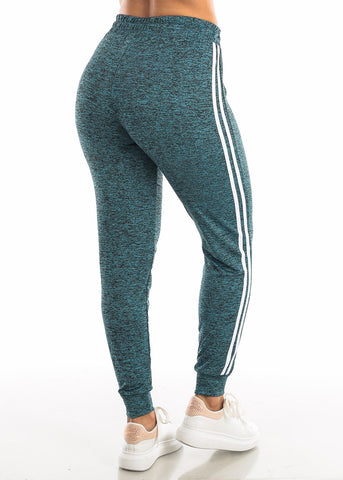 Image of Drawstring Heather Teal Jogger Pants