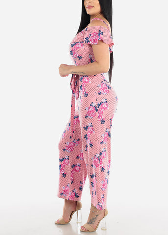 Image of Floral & Polka Dot Pink Jumpsuit