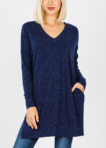 Navy Brushed Melange Sweater
