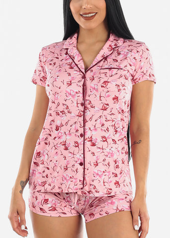 Floral Top and Shorts PJ Set