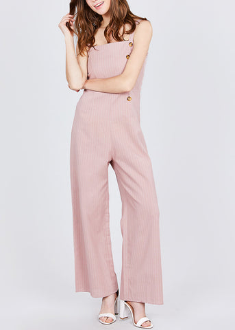Image of Side Button Detail Stripe Pink Jumpsuit