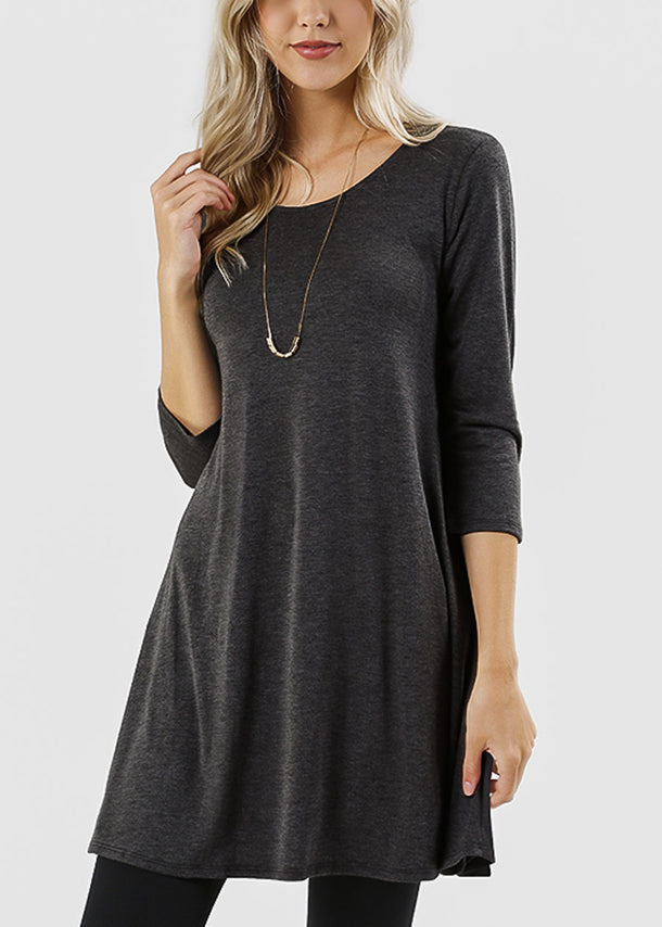 Round Neck Charcoal Tunic Dress