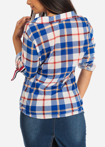 Image of Women's Junior Ladies Stylish Dressy Casual 3/4 Sleeve Blue Plaid Print Button Up Shirt Top