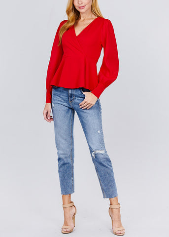 Mesh Insert Red Peplum Top