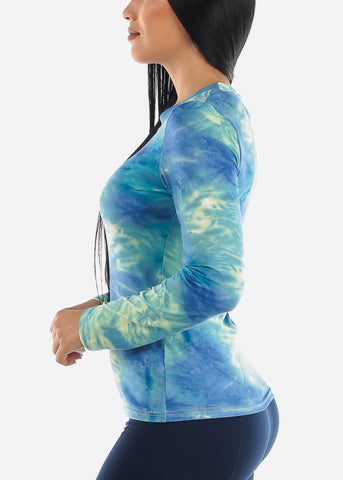 Image of Blue Slip On Tie Dye Top