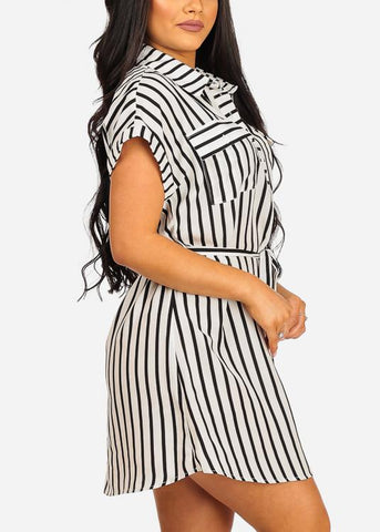 Image of Lightweight Short Sleeve White Stripe Dress W Belt