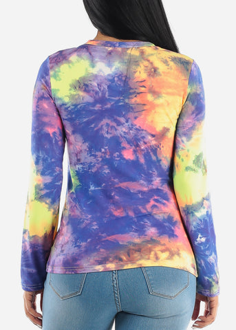 Image of Purple Slip On Tie Dye Top