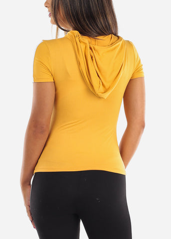 Image of Sexy Short Sleeve Sporty Yellow Stripe Crop Top For Women Ladies Junior On Sale Activewear Shirt