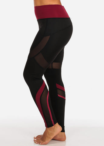 Image of Activewear Black And Burgundy Sheer Mesh Detail High Rise Leggings
