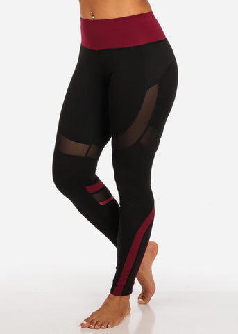 Activewear Black And Burgundy Sheer Mesh Detail High Rise Leggings