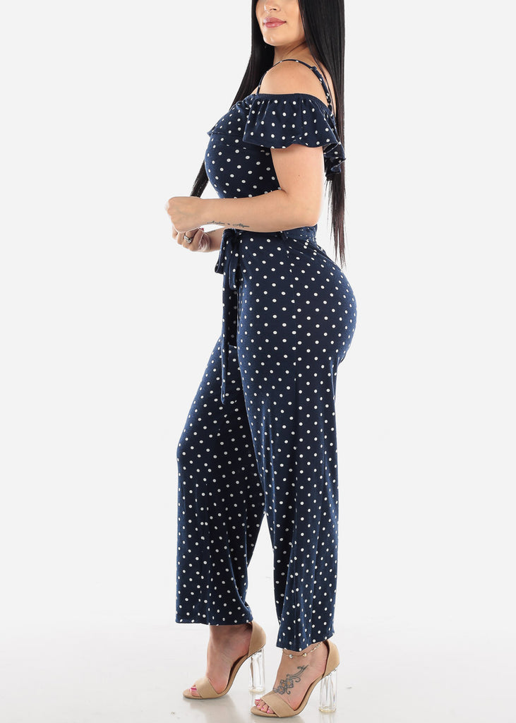 Cold Shoulder Navy Polka Dot Jumpsuit