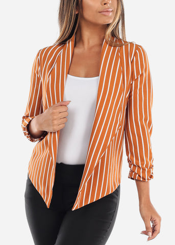 Yellow Stripe Open Blazer