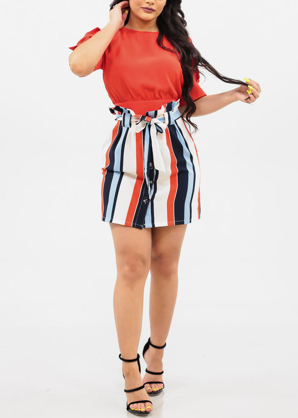 High Rise Tie Belt Mini Stripe Skirt