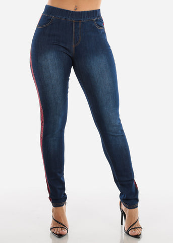 Image of Red Animal Print Stripe Skinny Jeans