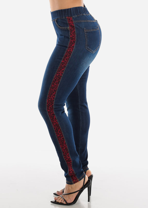 Red Animal Print Stripe Skinny Jeans