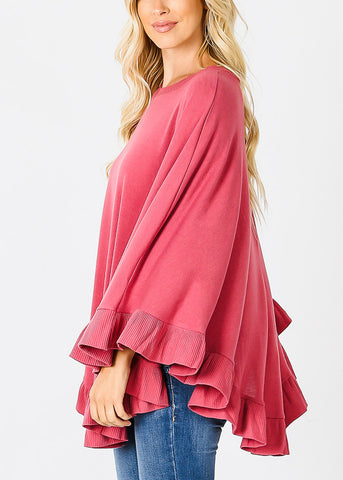 Image of Ruffle Hem Rose Poncho Sweater