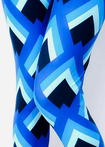 Blue Multicolor Printed Leggings