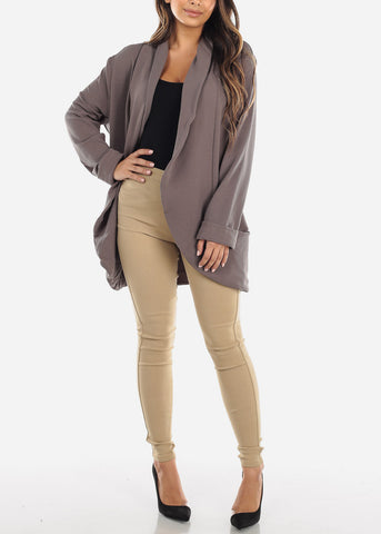 Image of Casual Open Front Grey Blazer
