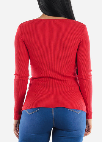 Pretty Red Ribbed Sweaters