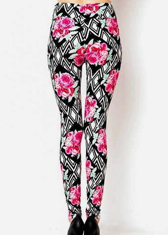 Black & Pink Rose Printed Leggins