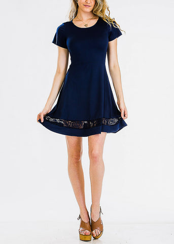 Cute Navy Lace Inset Mini Dress