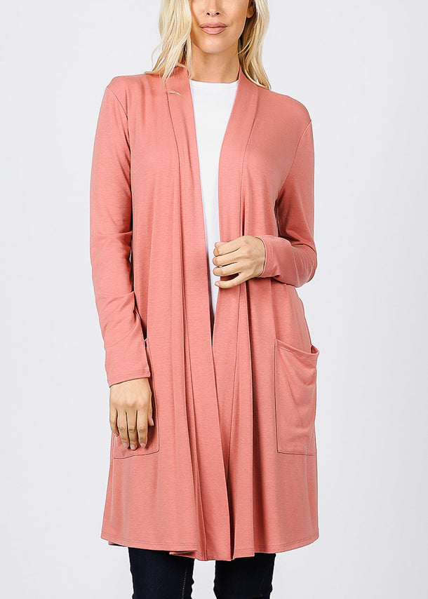 Ash Rose Open Front Maxi Cardigan