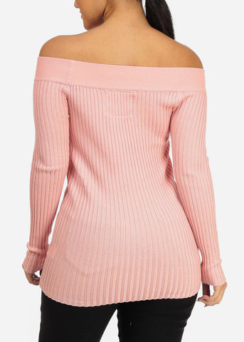 Ribbed Knitted Rose Top