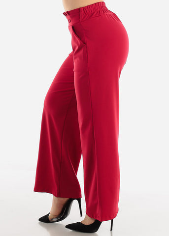 Red High Waist Dressy Pants