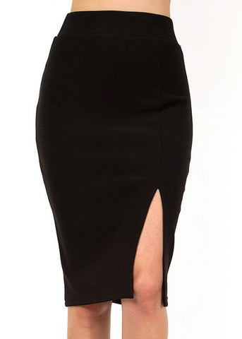 Image of Black Thigh Slit Pencil Skirt