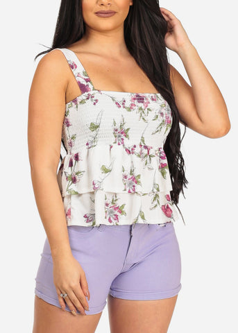 Women's Junior Summer Spring Elastic Detail Ruffle Layered White Floral Print Crop Top