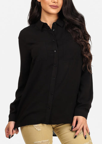 Classic Black Long Sleeve Button Up Top