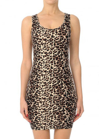 Sleeveless Animal Print Bodycon Dress
