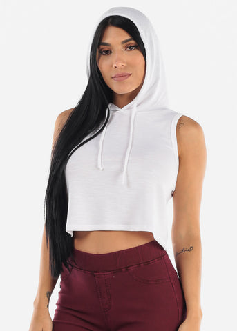 Sleeveless White Cropped Hoodie
