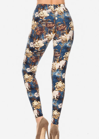 Blue & Gold Floral Leggings