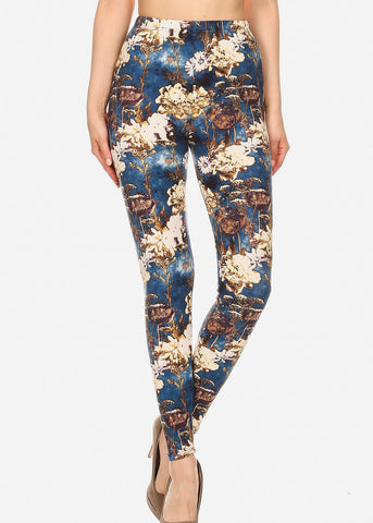 Activewear Blue & Gold Floral Leggings