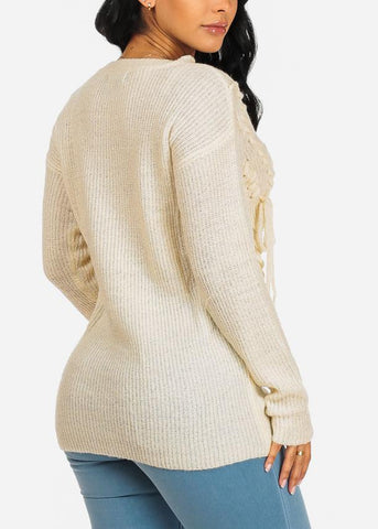 Image of Cozy Ivory Knitted Sweater