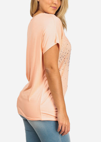 Image of Rhinestone Design Peach Tunic Top