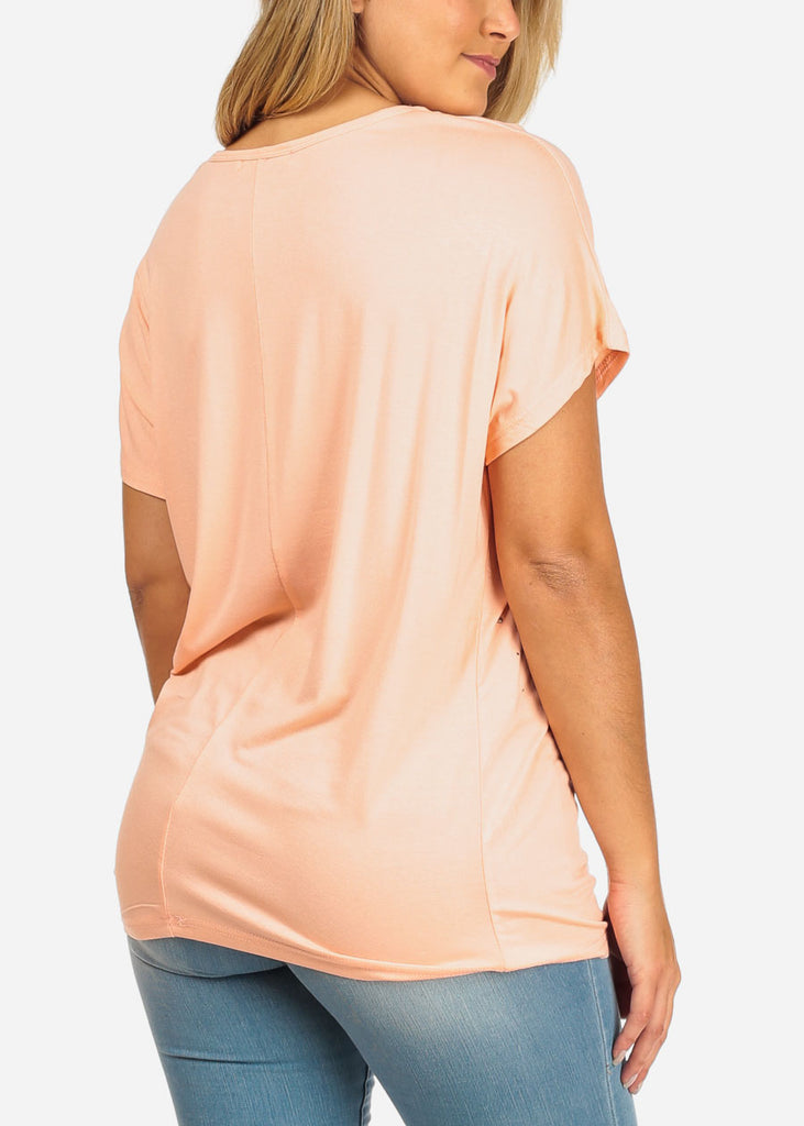 Rhinestone Design Peach Tunic Top
