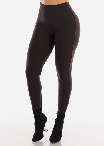 Dressy Butt Lifting Brown Skinny Pants